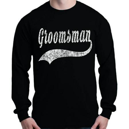Shop4Ever Men's Groomsman Baseball Wedding Long Sleeve Shirt