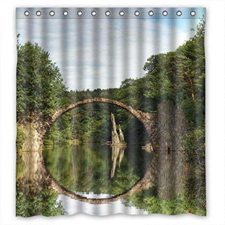 HelloDecor Peculiar Round Bridge Shower Curtain Polyester Fabric Bathroom Decorative Curtain Size 66x72 Inches ()