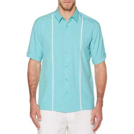 (Men's Short Sleeve Panel Woven Shirt)