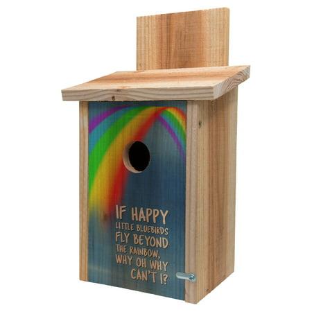 Cedar Blue Bird House Decorative Rainbow