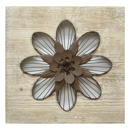 "14"" X 1.5"" X 14"" Natural Wood Rustic Flower Wall Decor"