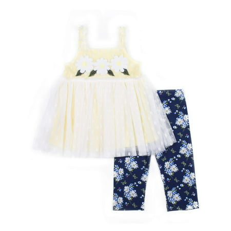 Sleeveless Textured Flower Top & Floral Print Jeggings, 2pc Outfit Set (Baby Girls & Toddler Girls) (Flower Power Outfits)