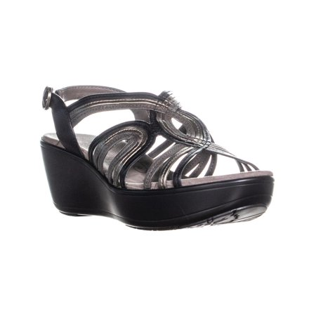 69943a88b8 BareTraps - Womens BareTraps Dangle Open Toe Wedge Sandals, Black/Grey -  Walmart.com