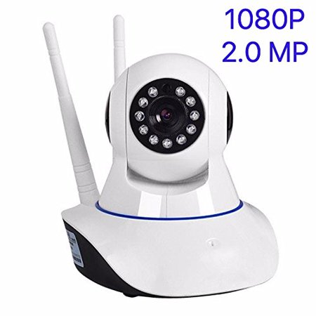 1080P HD WiFi Security IP-Camera with iOS/Android App, Dual-Antenna Dome-Camera Surveillance Night Vision 10x Led and Two-Way Audio for Baby/Elder/ Pet/Nanny Monitor with Micro SD Card (Best 1080p Graphics Card)