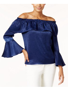 63d3a35f7616ef Product Image Thalia Sodi Women s Navy Sea Off-The-Shoulder Bell-Sleeve Top  Size L