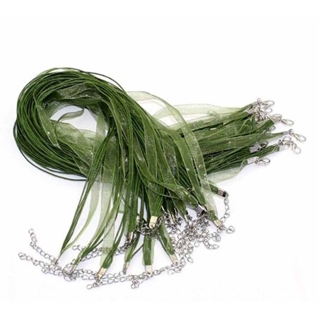 15 Organza Ribbon with Waxen Cord Necklaces Lobster Clasp 17 Inch (Olive Green)