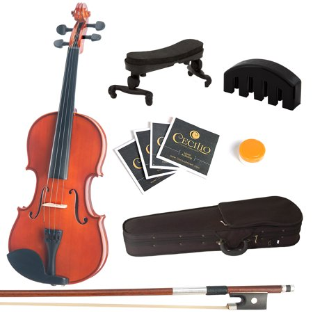 Mendini by Cecilio Full Size 3/4 MV200 Handcrafted Solid Wood Violin Pack with 1 Year Warranty, Violin Mute, Shoulder Rest, Bow, Rosin, Extra Set Strings, 2 Bridges & Case, Natural Varnish