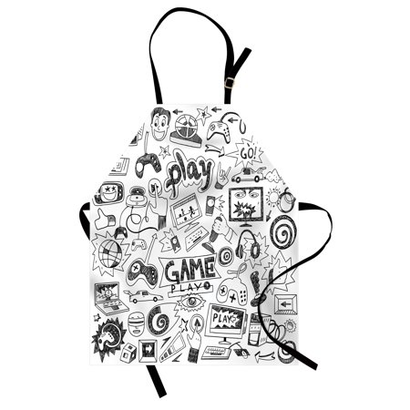 Video Games Apron Monochrome Sketch Style Gaming Design Racing Monitor Device Gadget Teen 90's, Unisex Kitchen Bib Apron with Adjustable Neck for Cooking Baking Gardening, Black White, by - Teens Kitten