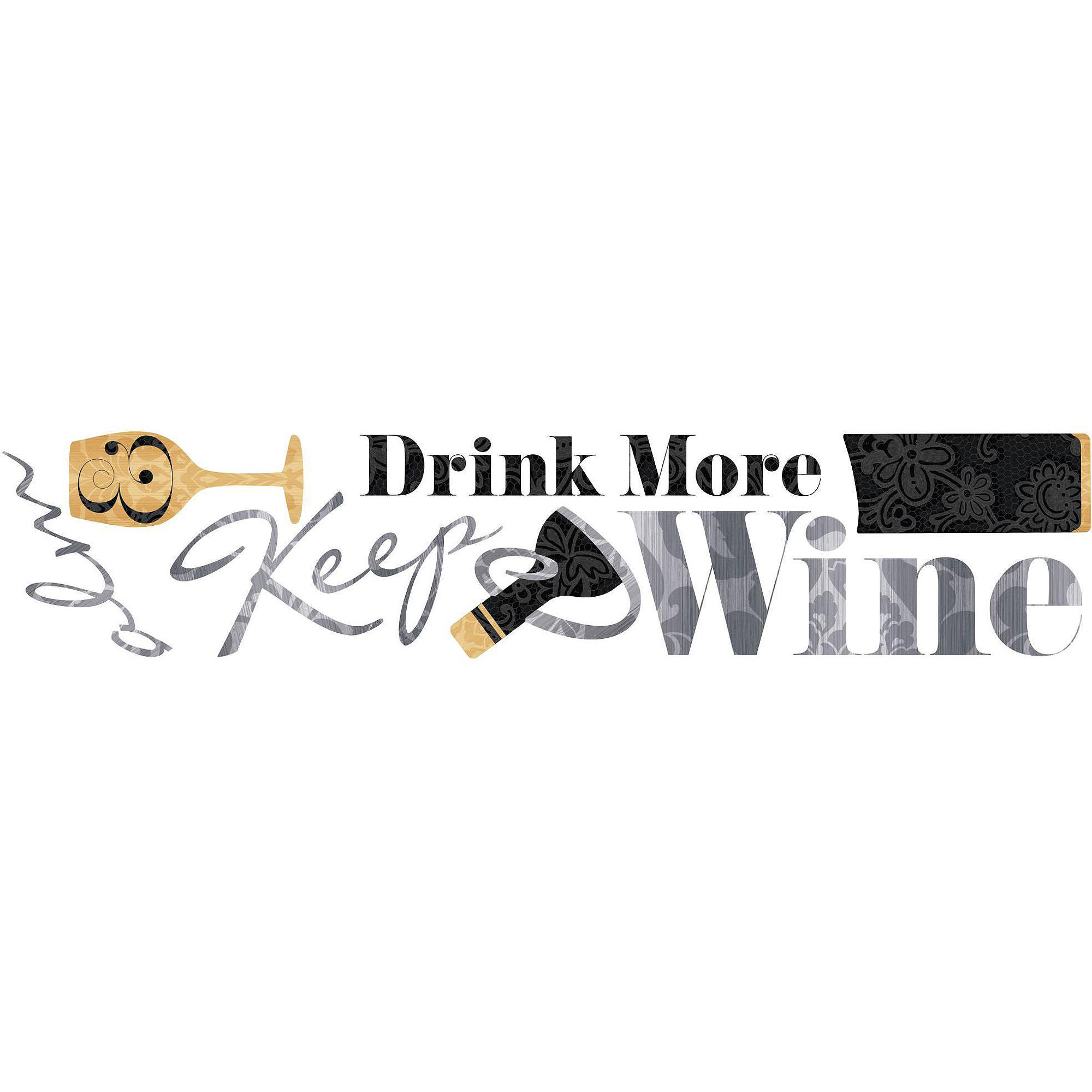 Keep Calm & Drink Wine Quote Peel and Stick Wall Decals