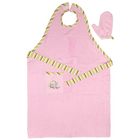 Stay Dry Bath Apron and Towel with Washmitt, Pink
