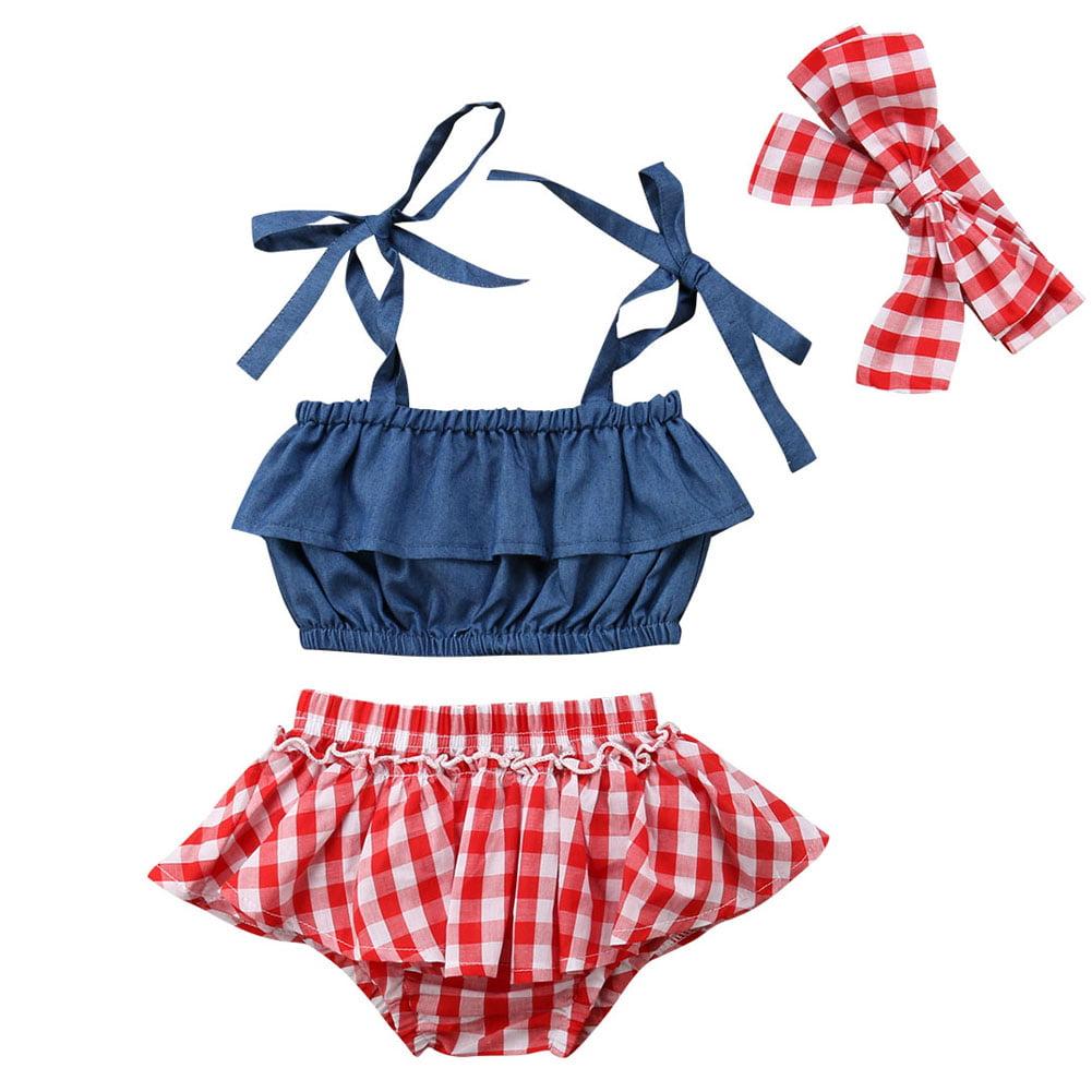 3pcs Toddler Baby Girls Plaid Ruffle Buttons Strap Tank Top Shorts Headband Set