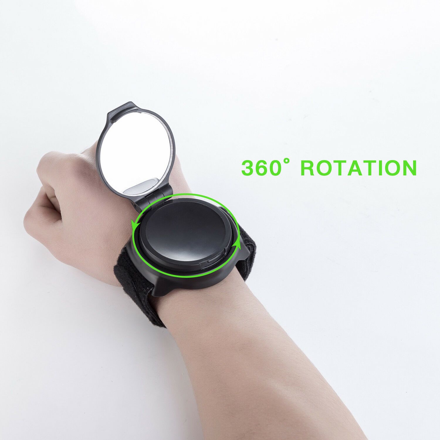 Benrise Wrist Strap 360 Rotating Bicycle Rearview Mirror Wristband Safety Rearview Mirror for Cyclists Mountain Road Bike Riding Portable Bicycle Accessories