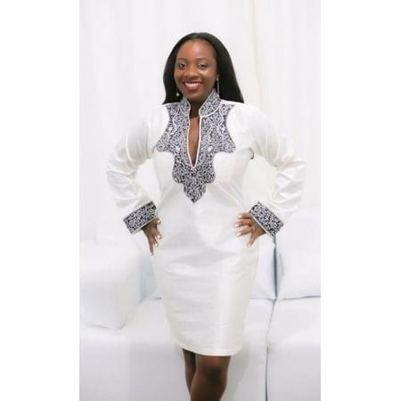 Women African Style Dress Long Sleeve Dress V-neck Above Knee (Best African Attire Dresses)