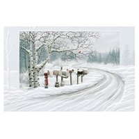 """Set of 16 Mailboxes Along a Snow Country Road Christmas Greeting Card 5.38"""" x 8.25"""""""