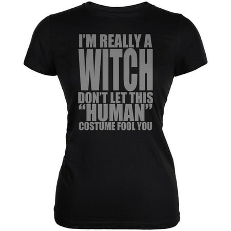 Halloween Human Witch Costume Juniors Soft T Shirt](Junior Halloween Costume Ideas)