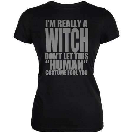 Halloween Human Witch Costume Juniors Soft T Shirt](Human Cat Halloween Costumes)