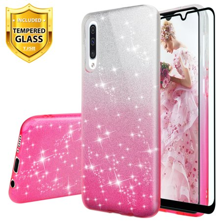TJS Case Compatible for Samsung Galaxy A50 2019, with [Full Coverage Tempered Glass Screen Protector] Two Tone Shinny Glitter Hybrid TPU Protection Phone Cover Case for Girls Women
