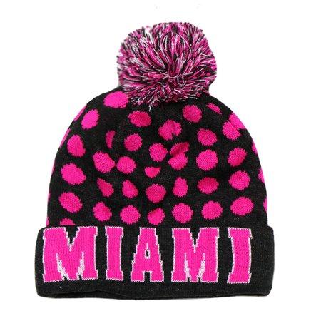 City Hunter Sk1150 Miami Dots Knit Beanie Hats (Dark Grey/neon Pink)