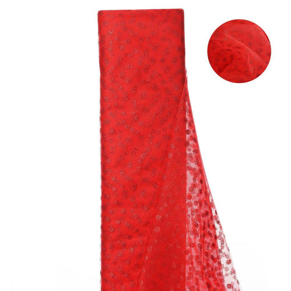 Glittered Polka Dot Tulle FabricRed- 54 x 15 Yards