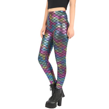 8cc3108cd79cd8 HDE Womens Shiny Leggings Mermaid Metallic Glitter Fish Scale Stretch Pants  S-XL (Rainbow ...