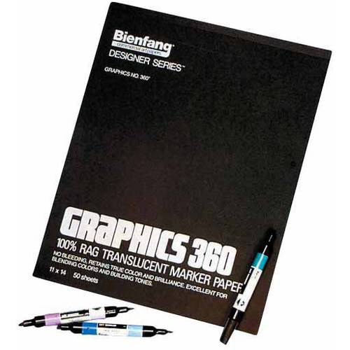 "Bienfang Graphics 360 100% Rag Cloth Felt Marker Pad, 11"" x 14"", 50 Sheets"