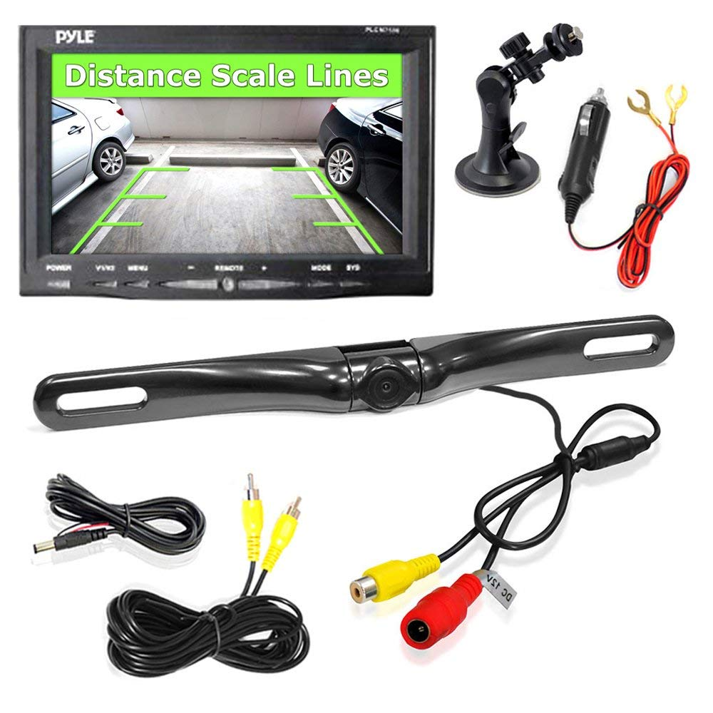 """PYLE PLCM7500 - Rear View Backup Car Camera - Screen Monitor System w/ Parking and Reverse Assist Safety Distance Scale Lines, Waterproof & Night Vision, 7"""" LCD video Color Display for Vehicles"""