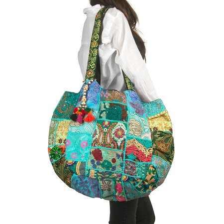 TribeAzure Large Oversize Blue Canvas Shoulder Bag Handbag Unique Tote Quilt Vintage Beach Travel Summer
