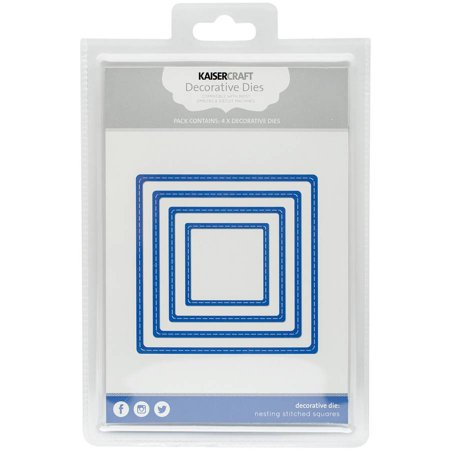 "Kaisercraft Nesting Dies, 4pk, Stitched Squares, 1.75"" x 1.75"" to 4"" x 4"""
