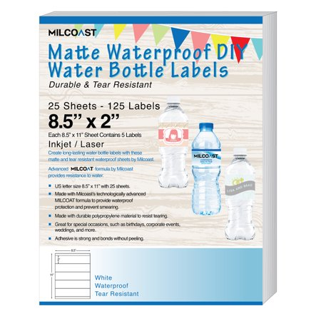 Milcoast Matte Waterproof Tear Resistant DIY Water Bottle Labels 8.5 x 2 for Inkjet / Laser Printers - 25 Sheets