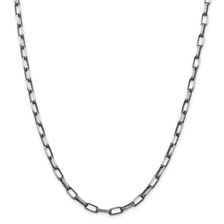 Sterling Silver Antiqued Fancy Link Necklace - 21.5 Grams - 22 Inch - 4.8mm - Lobster Claw