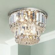 "Saint Mossi K9 Crystal Chandelier with 3 Lights and 2-Tier,Modern Flush Mount Ceiling Light Fixtures Modern Chandelier for Bedroom,Dining Room,Livingroom,H9"" x D10"""