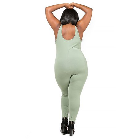 d7ac1592b2ca7c GenX - Women Plus Size Sleeveless Tank Catsuit With Knee Slit ...