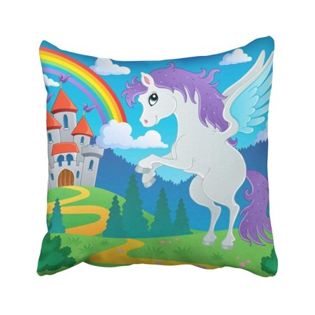 WOPOP Pony Fairy Tale Pegasus 2 Cartoon Rainbow Castle Cute Animal Fairytale Fantasy Pillowcase Throw Pillow Cover Case 18x18 inches - Rainbow Pegasus