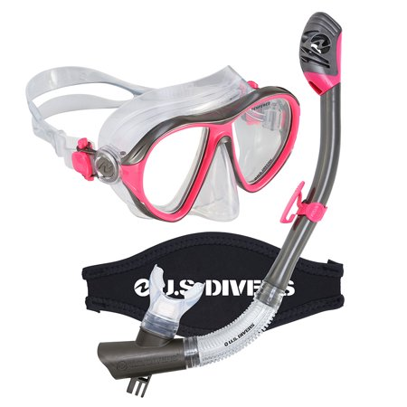 Aqua Lung US Divers Pink/Black Premium Womens Mask GoPro Ready Dry Snorkel