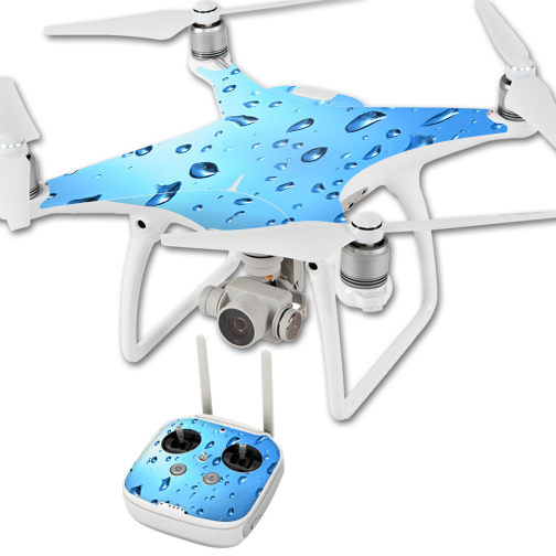 MightySkins Protective Vinyl Skin Decal for DJI Phantom 4 Quadcopter Drone wrap cover sticker skins Water Droplets