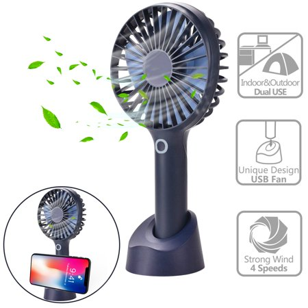 Mini Portable Fan, Hand held Super Quiet Fan Rechargeable Battery Operated Cooling Desktop Electric Fan with Cell Phone Stand Base, 2000Mah Battery 4 Modes for Home Office Travel Outdoor