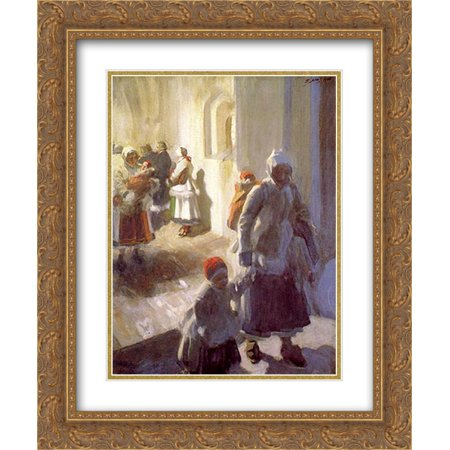 Anders Zorn 2x Matted 20x24 Gold Ornate Framed Art Print 'Christmas Morning Service' ()