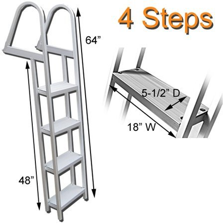 Aluminum 12 Volt Outdoor Step - RecPro Marine PONTOON BOAT DOCK HEAVY DUTY ALUMINUM 4 STEP REMOVABLE BOARDING LADDER AL-A4