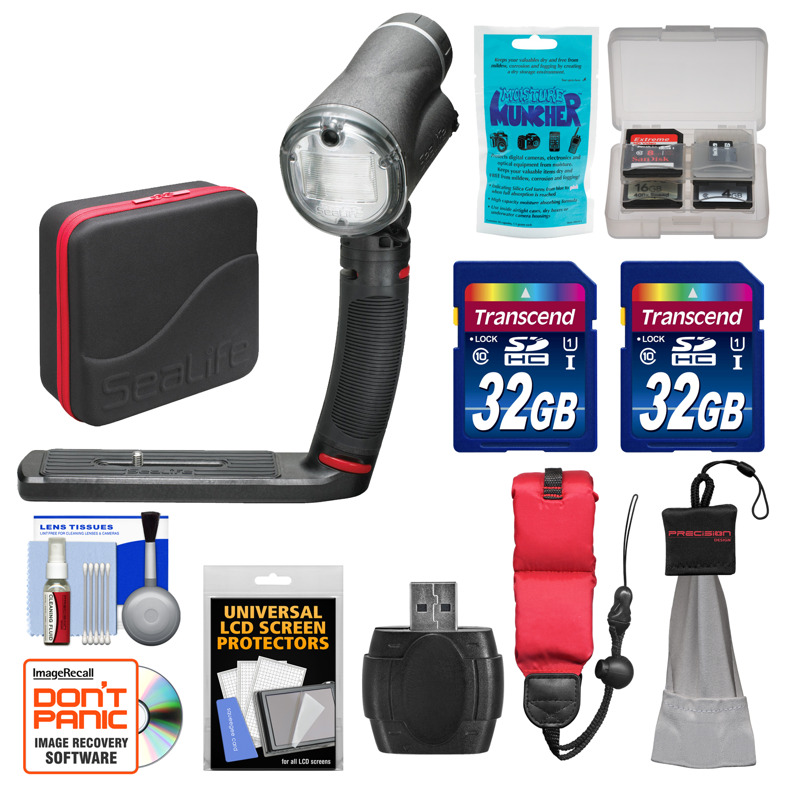 SeaLife SL963 Sea Dragon Underwater Flash with Head, Grip, Single Tray & Diffuser with (2) 32GB Cards + Case + Accessory Kit