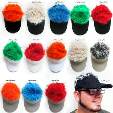 Flair Hair Visor Hat Golf Wig Cap Fake Adjustable Gift Novelty Party Custome Gag