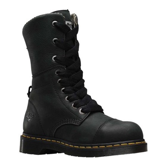Safety Toe Electrical Hazard Certified Water-resistant Slip-resistant  Breathable. Dr. Martens Leah St St 9 Eye Boot Black Uk 3 4a60f26c4