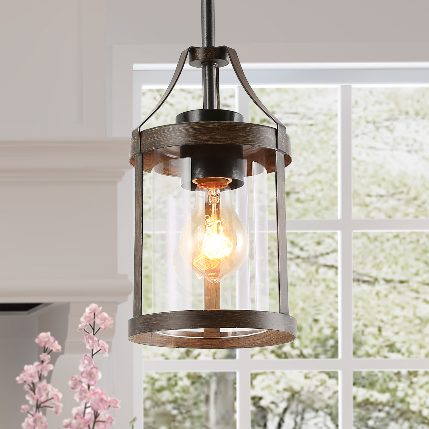 Farmhouse Kitchen Pendant Lights Faux Wood Hanging Ceiling Lighting For Island Dining Room Living Room Walmart Com Walmart Com