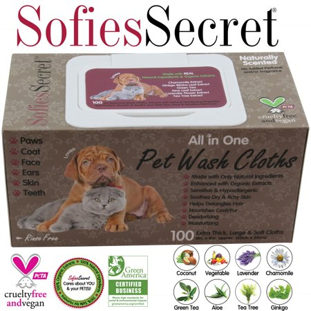 SofiesSecret-Pet-Wipes-for-Dogs-Cats-ALL-IN-ONE-PP-LID-100-Count-100-Natural-Organic-Extracts-Extra-Thick-Ultra-Soft-Extra-Large-Hypoall