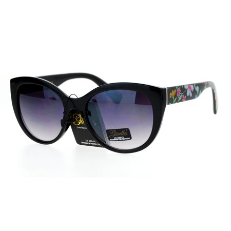 Sa106 Floral Print Arm Round Large Thick Plastic Cat Eye Sunglasses