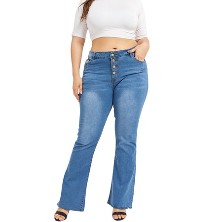 JDinms Women's Plus-Size Classic Stretch Button Fly Denim Jeans Citizens Of Humanity Button Fly Jeans
