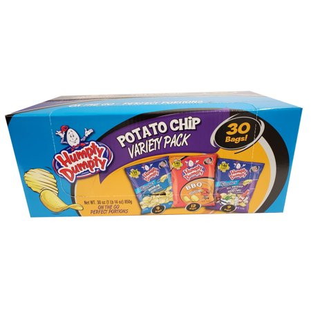 Humpty Dumpty Chips, Assorted 30 Pack, 1oz Snack Bags (BBQ, All Dressed, Regular Ripple)