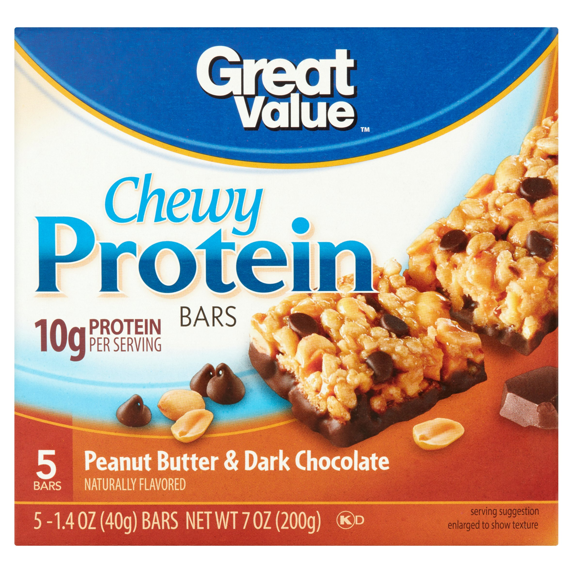 Great Value Chewy Protein Bars, Peanut Butter & Dark Chocolate, 5 Count