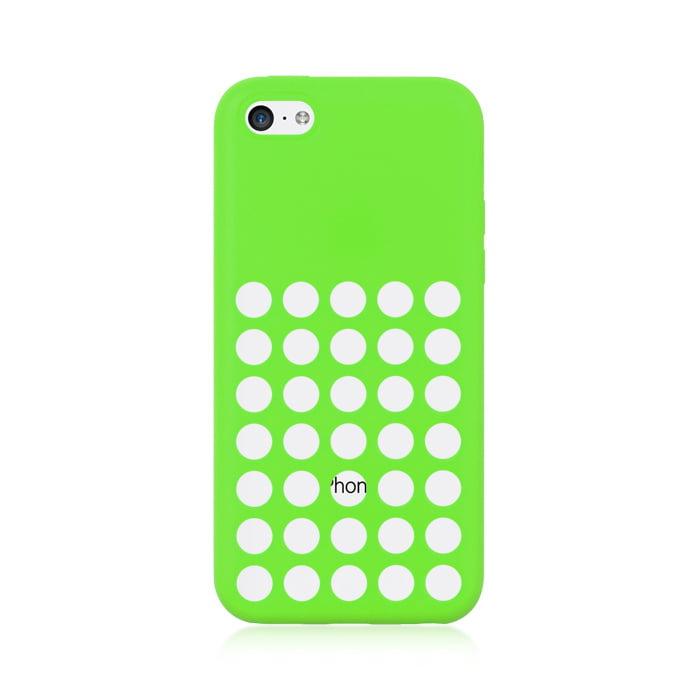 MUNDAZE Green Polka Dots Holes Silicone Gel Skin Case For Apple iPhone 5C Phone