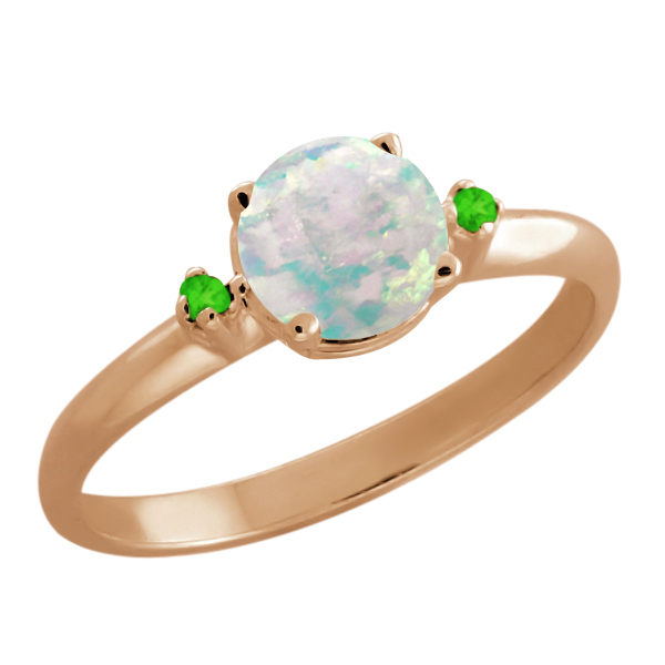 0.67 Ct Round White Simulated Opal Peridot Rose Gold Plated 925 Silver Ring