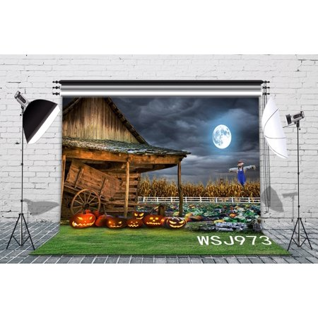 HelloDecor Polyster 7x5ft The Field Of The Halloween Photography Backdrop Studio Background Photo Backdrops Studio - Purple Halloween Backgrounds